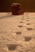 Foot Trace Of Santa Claus On Snow Lead To Brick Chimney, Midnight, Christmas And New Year, Winter Ho poster