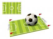 3d illustration of the football field isolated on white background