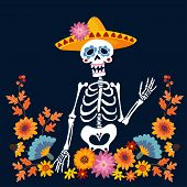 Dia De Los Muertos Greeting Card, Invitation. Mexican Day Of The Dead. Skeleton With Sombrero Hat An poster