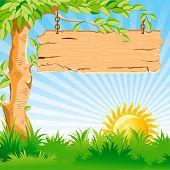 Paisaje de vector. Salida del sol. En la rama de una árbol cuelga un puntero de madera viejo.