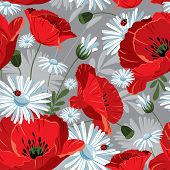 Excellent seamless pattern with with poppies and daisies on gray background