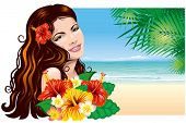 Pretty young woman with tropical flowers on the beach