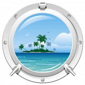 Porthole overlooking the sea and the tropical island