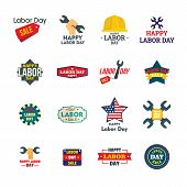 Labor Day Workers Sale Celebration Logotype Icons Set. Flat Illustration Of 16 Labor Day Workers Sal poster