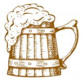 stock photo of drawing beer  - wooden beer mug with the foam which flows from it - JPG