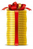 Stack of coins with a red bow. Concept of pecuniary profit.