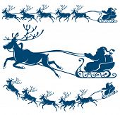 stock photo of sleigh ride  - Reindeer and Santa Claus - JPG