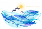 Abstract summer background with dolphins and sea