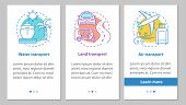 Modes Of Transports Onboarding Mobile App Page Screen With Linear Concepts. Land, Air And Water Tran poster