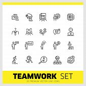 Teamwork Icons. Set Of  Line Icons. Head Hunting, Presentation, New Idea. Teamwork Concept. Vector I poster