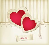 Vector beige background with photo frames two red hearts, ribbon and pearls