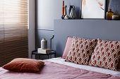 Patterned Modern Bedroom Interior poster