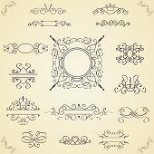 Set of calligraphic design elements, vector