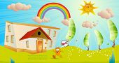 Children's vector background. On first of September