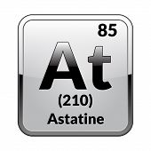Astatine Symbol.chemical Element Of The Periodic Table On A Glossy White Background In A Silver Fram poster
