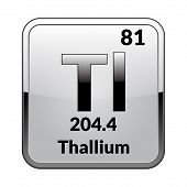 Thallium Symbol.chemical Element Of The Periodic Table On A Glossy White Background In A Silver Fram poster
