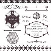 Set of ornate vector frames, ornaments and dividers. Perfect to embellish your designs, invitations, or announcements.