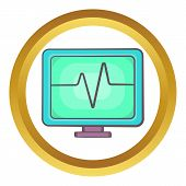 Electrocardiogram Monitor Icon In Golden Circle, Cartoon Style Isolated On White Background poster