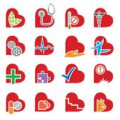 set of sixteen medical icons in the form of heart