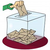 voting. A ballot box