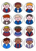 A set of various childrens avatars - boys school children, simple flat cartoon style. Cute and mini poster