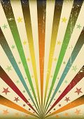 Multicolor Sunbeams grunge background. A vintage poster for you