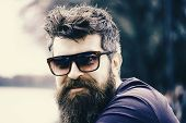 Man With Beard And Mustache Wears Sunglasses, River Embankment On Background. Hipster On Confident F poster
