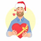 Businessman In Santa Claus Hat. Man Gives A Gift. Air Kiss. Gift Giving Vector Illustration poster