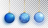 Blue Christmas Tree Toy Set Isolated On A Transparent Background. Stocking Christmas Decorations. Ve poster