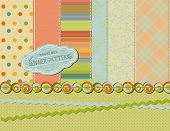 Set of seamless summer patterns, with matching stitches, ribbons, borders, and label (also a bright