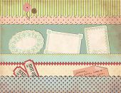 Grungy Vintage Scrapbook Set - Old Paper Pockets, Borders, Labels, Clothing Buttons, Tickets, Saying
