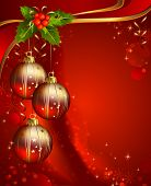 three shiny ball on the red Christmas background