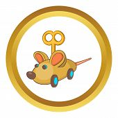 Clockwork Mouse Icon In Golden Circle, Cartoon Style Isolated On White Background poster