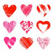 Set of nine artistic hearts