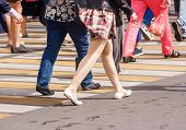 Many Legs Of People Crossing The Pedestrian Crossing In The Busy Street Of The Downtown On The Sunny poster