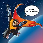 Super hero with cape flying above a planet. Vector file is layered so visor can be removed and eyes