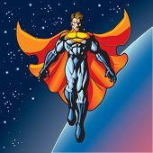 Generic superhero figure floating above a planet.