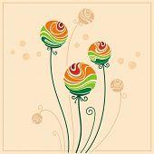 tarjeta con flores decorativas color estilizada