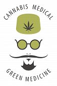 Vector Banner For Medical Cannabis With A Doctors Face With Mustache, Round Glasses And Hemp Leaf On poster