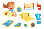 Girl Playing With A Ball At Beach Volleyball Set For Label Design. Sports Equipment For Volleyball.  poster