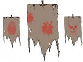 Raster set of torn flags with symbols