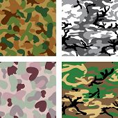 Set of camouflage seamless pattern (australian, australian desert, urban city and woodland colors)