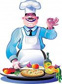 Pizza chef with Ok symbol