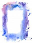 Watercolor abctract grunge frame from blue blots