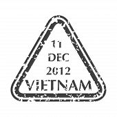 Colored Grungy Postal Stamp From Vietnam. Isolated Vector Illustration. poster