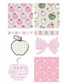 Pretty apple patterns. Use to print onto fabric for jam lids or as backgrounds or other decor projec