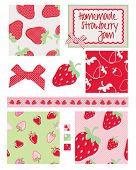 Pretty strawberry patterns. Use to print onto fabric for home baking or as backgrounds or other deco