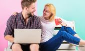 Couple Cheerful Spend Leisure With Laptop Surfing Web Watch Video. Modern Young People Leisure Inter poster