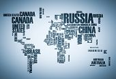 World map: countries in wordcloud poster