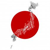 Tagcloud map of Japan after disasier